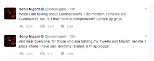 Sonu Nigam apologized